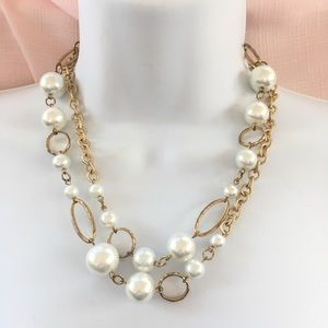 Jewelry - Fashion Faux Pearl and Gold Bead Necklace